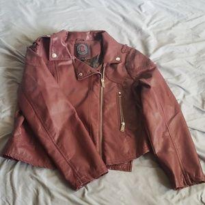 Burgundy Leather like Moto Jacket